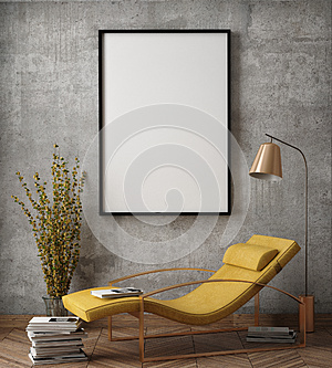 Mock up poster frame in hipster interior background,