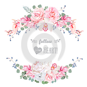 Cute wedding floral vector design frame. Rose, peony, orchid, anemone, pink flowers, eucaliptus leaves.