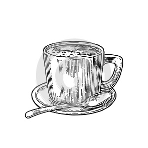 Cup of coffee with saucer, spoon. Hand drawn sketch style. Vintage black vector engraving illustration for label, web