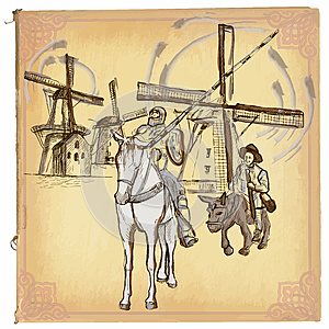 Don Quijote (Quixote) - An hand drawn vector sketch, freehand