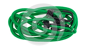 Green bungee cords on a white background