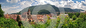 Landmark attraction in Brasov, Romania. Panorama of the city Brasov, old town. Catholic Black Church (Biserica Neagra)