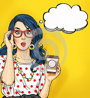 Pop Art girl with coffee cup in glasses with thought bubble. Party invitation. Birthday card. Hollywood, movie star. Comic woman.