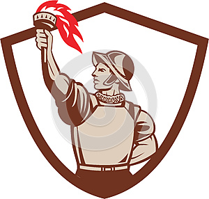 Spanish Conquistador Lifting Torch Crest Retro
