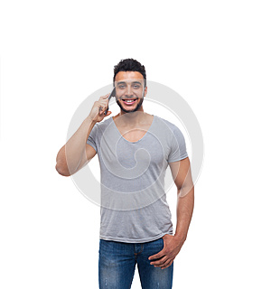 Casual Man Cell Smart Phone Call Speak