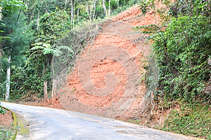 Erosion on the side of the road