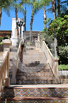 Colorful Spanish tile stairs