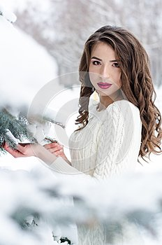 Snow queen. Portrait of a winter woman.
