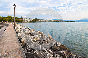 Lake Garda coastline, captured from Desenzano, Brescia, Italy.