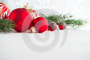Red xmas ornaments on wooden background. Merry christmas card.
