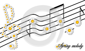 Spring Melody print floral pattern of camomiles notes on a stave and the treble clef isolated on white
