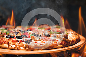 Wood Fired Pizza With Flames