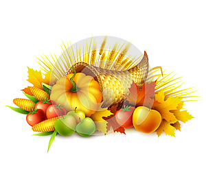 Illustration of a Thanksgiving cornucopia full of harvest fruits and vegetables. Fall greeting design. Autumn harvest