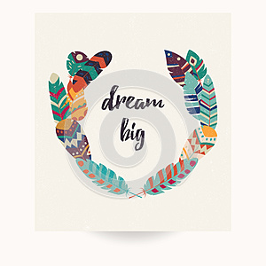 Postcard design with inspirational quote and bohemian colorful feathers