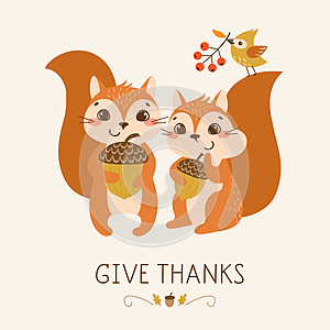 Cute Thanksgiving squirrels