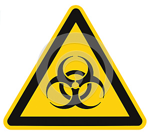 Biohazard symbol sign, biological threat alert, isolated black yellow triangle label signage, large detailed macro closeup