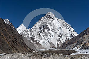 K2 mountain peak in clear day, K2 trek