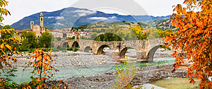 Bobbio - beautiful ancient town with impressive roman bridge, It
