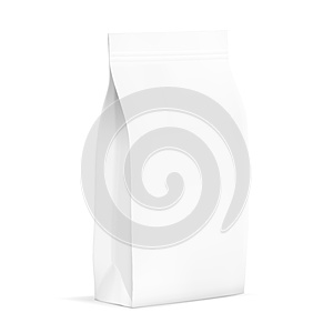 White Blank Plastic Or Paper Packaging With Ziplock. Sachet For Bread, Coffee, Candys, Cookies, Gifts