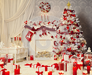 Christmas Room Interior, White Xmas Tree, Fireplace Decoration