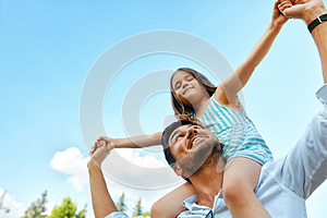 Happy Father And Child Having Fun Playing Outdoors. Family Time