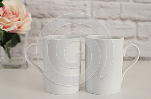 Two Mugs. White Mugs Mockup. Blank White Coffee Mug Mock up. Styled Photography. Coffee Cup Product Display