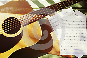 Guitar Song Writer Melody Enjoyment Music Note Concept