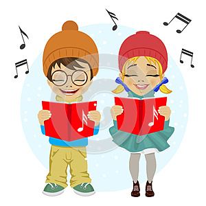Little boy and girl singing Christmas carols