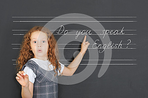 Surprised redhead girl asks a question - Do you speak English