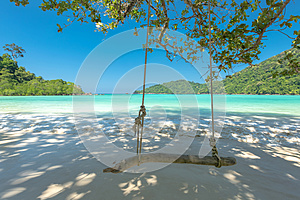 Swing and Beautiful beach for relaxation, Located Surin Island,