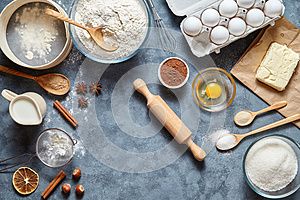 Dough preparation recipe ingridients flat lay on kitchen table background