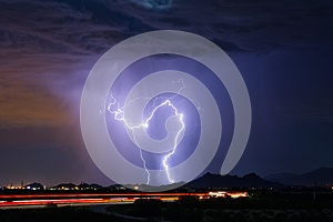 Lightning strikes during a thunderstorm in Tucson, Arizona