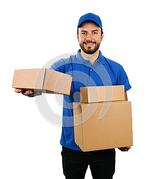 Delivery courier giving cardboard shipping box on white background