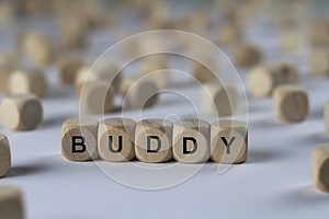 Buddy - cube with letters, sign with wooden cubes