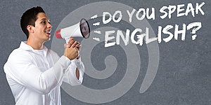 Do you speak English foreign language learning school young man