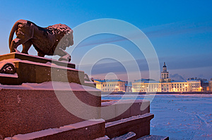 The lion sculpture in Saint Petersburg, Russia