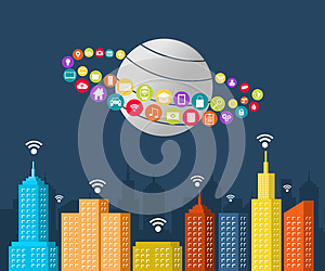 Smart city concept. Internet of things