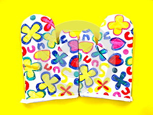 Colourful Flower Kitchen Oven Glove on Yellow Background