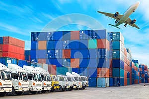 Containers shipping and Trucks for import-export