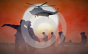 Military helicopter rescue mission during sunset