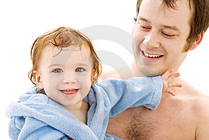 Baby boy in father hands