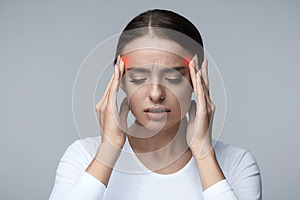 Headache. Beautiful Woman Feeling Stress And Strong Head Pain