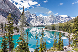 Moraine lake in Banff National Park, Canadian Rockies, Canada.