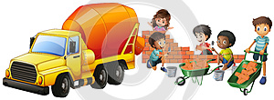 Cement mixer truck and kids laying bricks