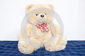 Teddy bear big toy portrait, childhood concept, friend and buddy, sitting on bed