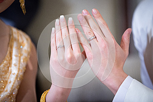Newly wed couple`s hands with wedding rings