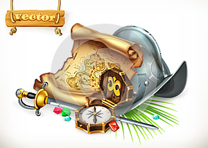 Old treasure map and conquistador helmet. Adventure vector illustration