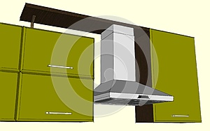 Sketch abstract drawing of fume hood and cupboards.