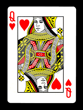 Queen of hearts playing card,
