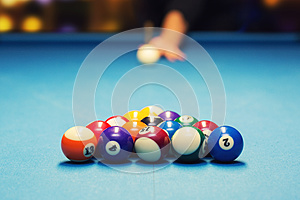 Pool billiard - ready for break shot